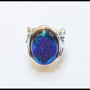 NEW CAROLYN POLLACK 925 Violet Druzy Quartz Ring